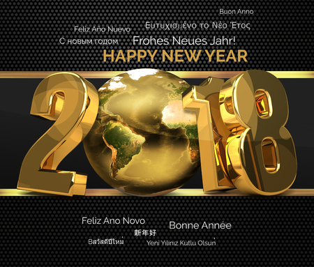 multilingual: multilingual 2018 golden symbol happy new year 3d render. Elements of this image furnished by NASA.