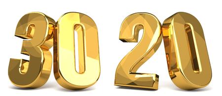 30 and 20 golden 3d render symbol Фото со стока