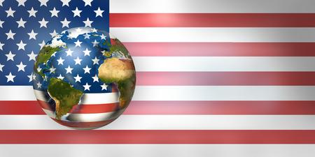USA flag worldwide global planet 3d render.