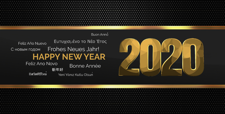 multilingual: 2020 golden multilingual happy new year