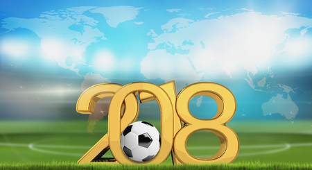2018 symbol ball and world map soccer stadium 3d render. Elements of this image furnished by NASA.