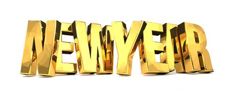 new year golden 3d render