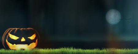 grass blades: halloween pumpkin and bats 3d render