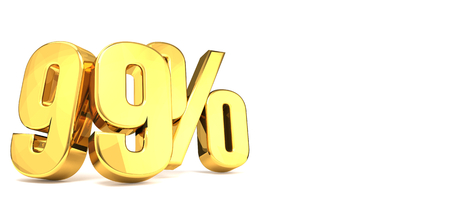 comparable: 99 % golden 3d render Stock Photo