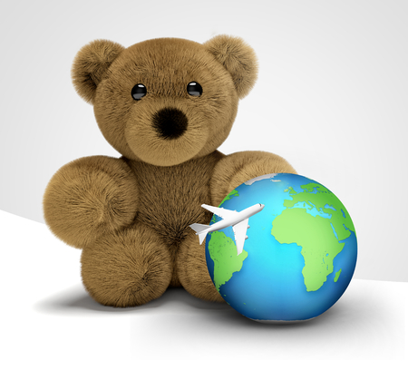 wordwide: teddy bear travel and world globe with plane 3d render flight Stock Photo