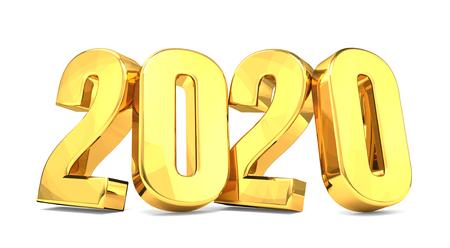 2020 golden symbol isolated 3d render Archivio Fotografico