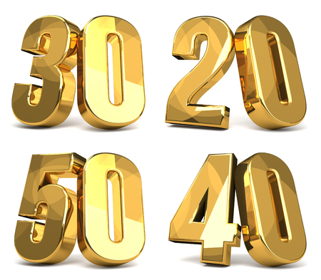 50 40 30 20 golden 3d render symbol