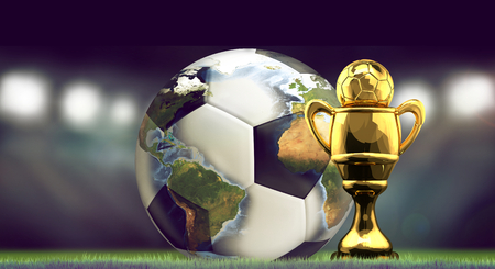 soccer football ball and golden Cup. World stadium concept 3d rendering Stock Photo