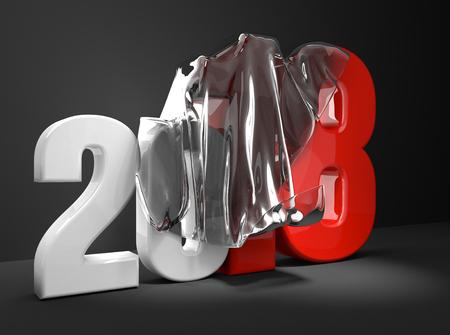 2018 new year Transparent cover Foil Presentation 3d rendering