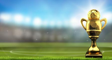 soccer football cup ball. 3d rendering football stadium