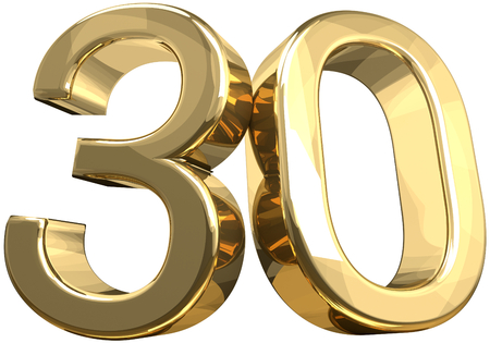 30 golden number isolated 3d rendering Фото со стока