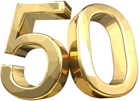 50 gouden nummer geïsoleerd 3D-rendering Stockfoto