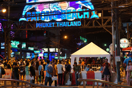 editorial illustrative entrance of Bangla Road in Patong Thailand in June 2017 early night Editorial