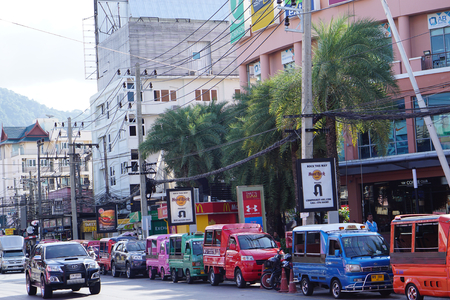editorial illustrative many Tuk Tuks at center of Patong Phuket Thailand near Bangla Road in June 2017 Editorial