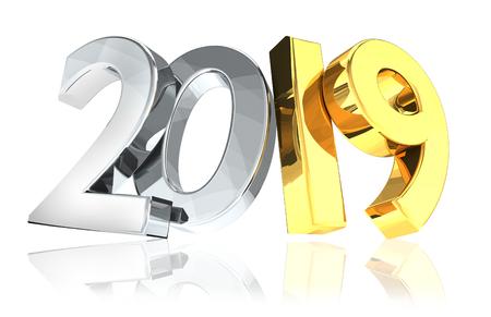 2019 golden silver new year 3d rendering symbol Archivio Fotografico