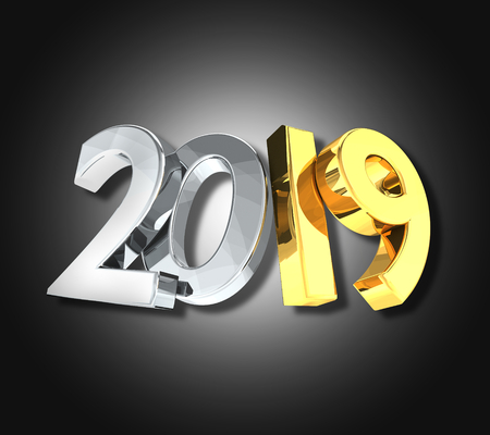 2019 golden silver new year 3d rendering symbol Stock Photo