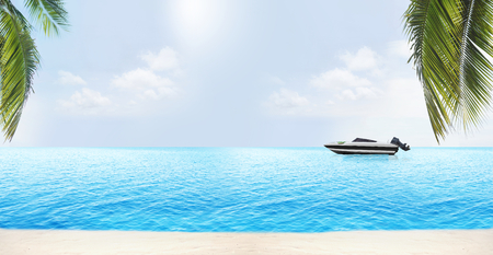 bateau de course: palm leaves at beach with speedboat at light blue water