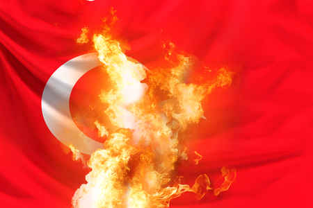 Turkey flag with fire and flames 3d rendering