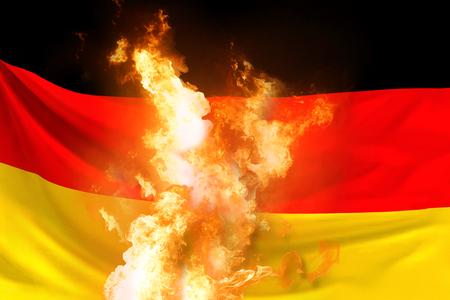 Bandera de Alemania con fuego y llamas representación 3D
