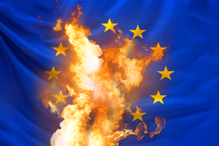Europe flag with fire and flames 3d rendering