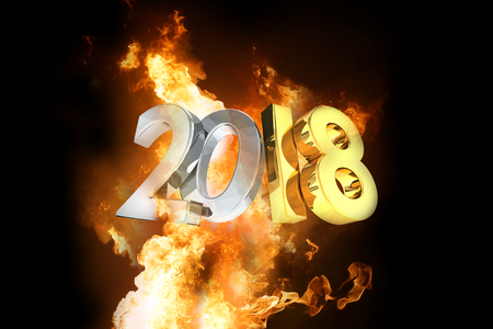 year 2018 golden silver hot fire flames 3d rendering