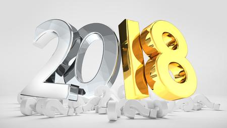 2018 silver gold pile of questions marks 3d render Foto de archivo