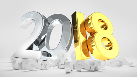 2018 silver gold pile of questions marks 3d render Stockfoto