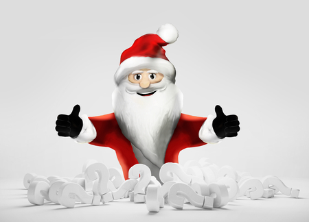 Santa knows the answer pile of questions marks 3d render