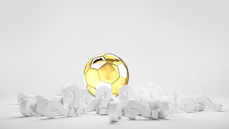 golden silver soccer football ball pile of questions marks 3d render