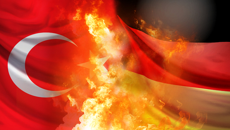 Turkey and Germany crisis 3d rendering background with fire and flames