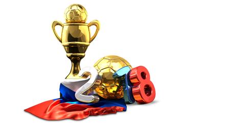 goldener Trophäenfußball-Fußballrusse färbte Wiedergabe 2018 3d Standard-Bild