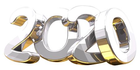 silver golden 3d rendering symbol 2020