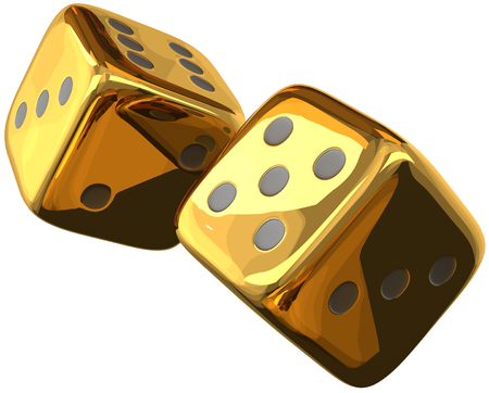 cube dices golden 3d rendering isolated