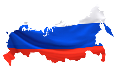 Russia russian map. isolated 3d rendering. Elements of this image furnished by NASA. Stock Photo