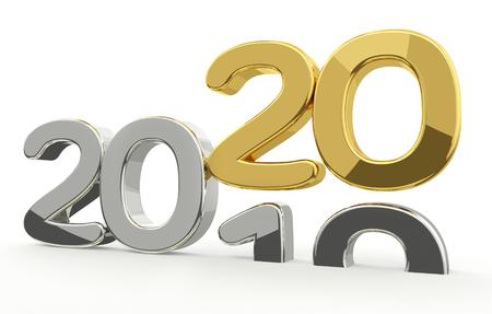 new year 2020 and 2019 golden 3d render Reklamní fotografie