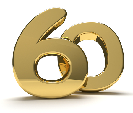 60 gouden geïsoleerde 3D-rendering