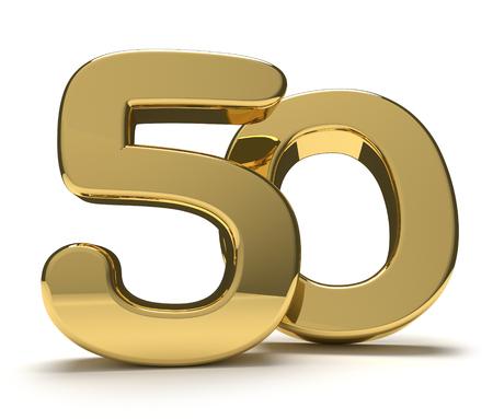50 fifty golden 3d render