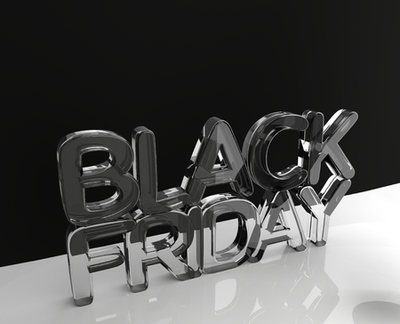 black friday glass 3d rendering modern view