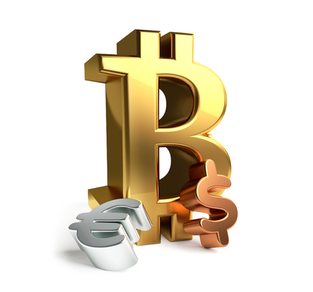big Bitcoin and Euro and Dollar symbol 3d rendering