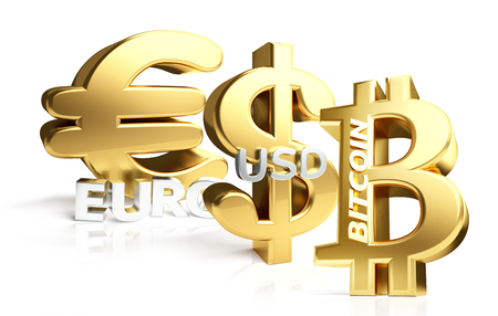 Euro Bitcoin US Dollar 3d rendering sybol golden Stock Photo