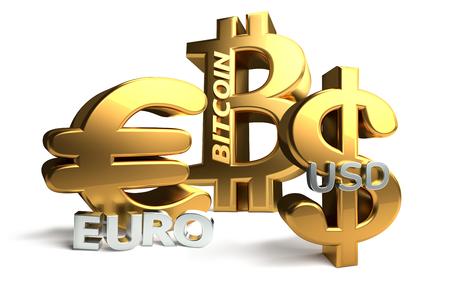 golden Euro Bitcoin US Dollar 3d rendering symbol