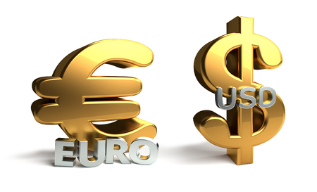 Euro and USD U.S. dollar 3d rendering