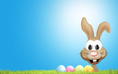 happy Easter bunny with Easter eggs and green grass 3d rendering background