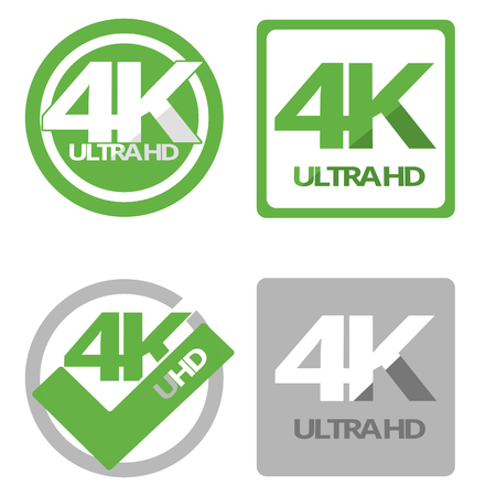 4K ultra hd flat symbol set Фото со стока