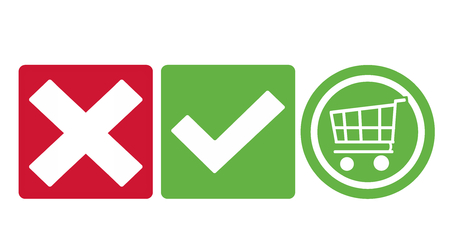 tick check shopping cart icon buttons green and red Banco de Imagens