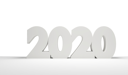 2020 bold letters clean white light grey 3d rendering 写真素材