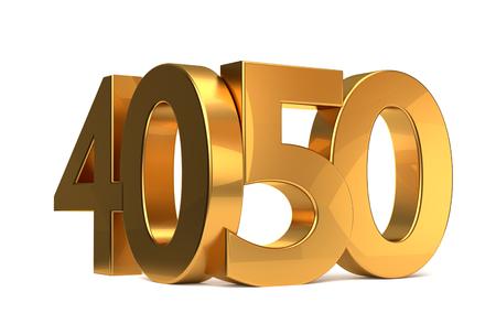 40 and 50 golden 3d render symbol