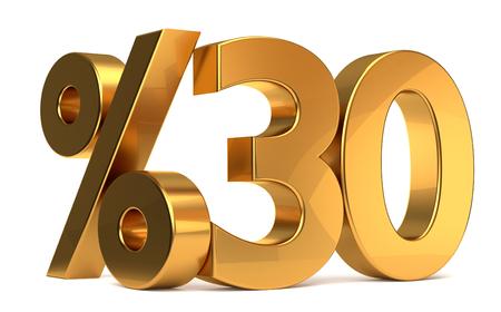 %30 3d rendering golden symbol Stock fotó