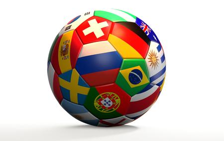 Russia, Spain, France, Brazil, Germany, Switzerland, Portugal, Sweden, Uruguay, Argentina, South Korea, Nigeria, Australia, Croatia, Costa Rica, England, flags, nations, 3d rendering, Korea Republic