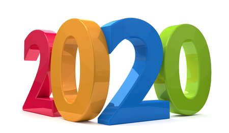 year 2020 3d rendering bold letters